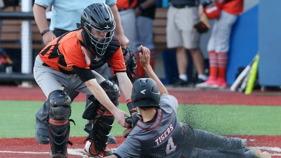 Tuckahoe catcher Ryan Rockhill tags out Pawling's John Belmonte after he tried to score on an extra base hit in the 7th inning  during the Section 1 Class C championship game at Pace University in Pleasantville May 24,2018. Tuckahoe won the game 9-5.
