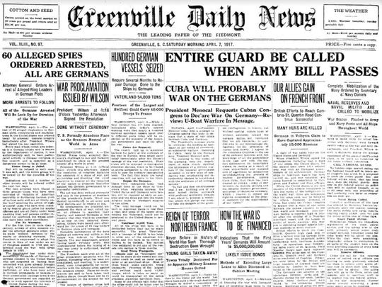 A copy of the Greenville Daily News on April 7, 1917.