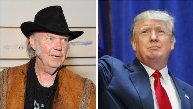 Donald Trump's day-old campaign is already getting doused in hater-ade. On Tuesday, hours after the real-estate magnate and reality TV star played Neil Young's Rockin' in the Free World as he bounded on stage, announcing he'll seek the Republican nomination for president (he means it this time!), Young had a message for him: Quit it.