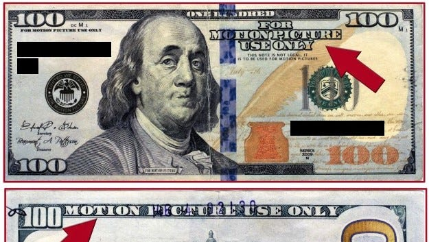 """Counterfeit money marked with """"For Motion Picture Use Only"""" is circulating in the El Paso area."""