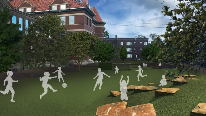Here's a rendering of the new play yard planned for the Hyde Park School.