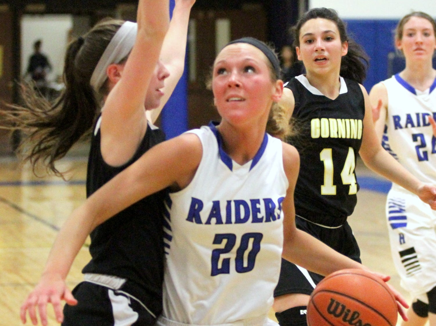 Marlea Nolan, shown against Corning in the Section 4 Class AA semifinals Feb. 27, was one of two Horseheads players named to the STAC Metro/West all-conference team.