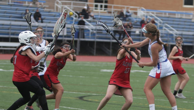 Action during a Section 1 girls lacrosse game between Blind Brook and Sleepy Hollow at Blind Brook High Schooll on Thursday, April 28th, 2016. Blind Brook won 7-6.