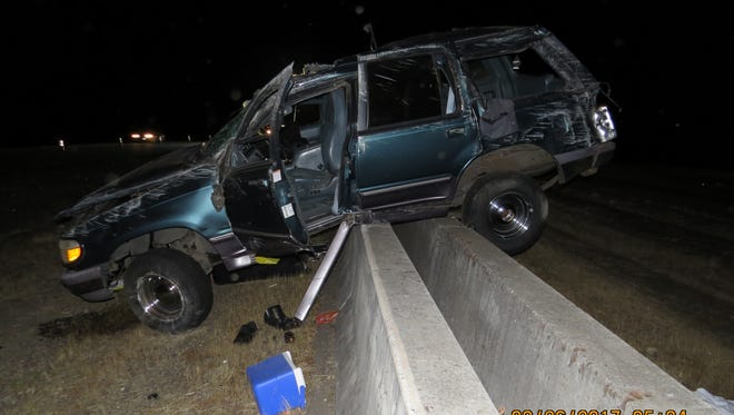 Oregon State Police responded to a single vehicle crash on I-5 near milepost 243 southbound in Marion County at 3 a.m. on Saturday, Aug. 26.