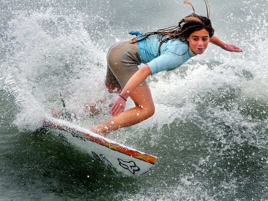 Surfing star Caroline Marks of Melbourne Beach, currently No. 1 in the world, competed in the Easter Surfing Festival in 2014.