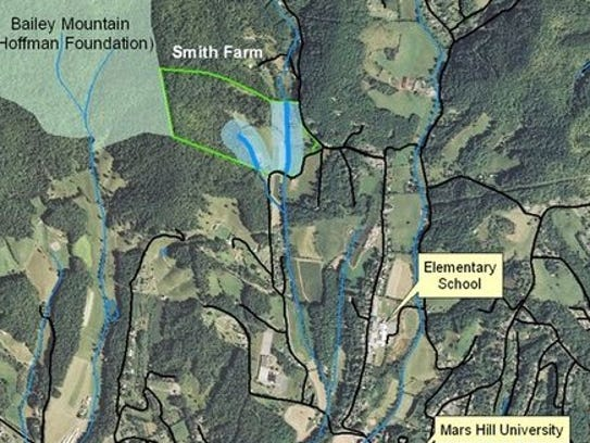 A map of the current and proposed Bailey Mountain Park