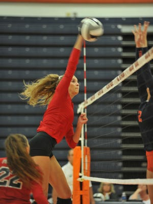 Pleasant's Laina Sansotta drops a shot last year at Galion. She is one of the area's most accurate hitters and returns as a senior for 2018.
