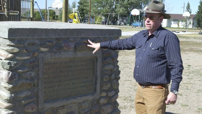 Dick Thoroughman speaks about a monument on the site of U.S. Army Fort Shaw in this undated photo
