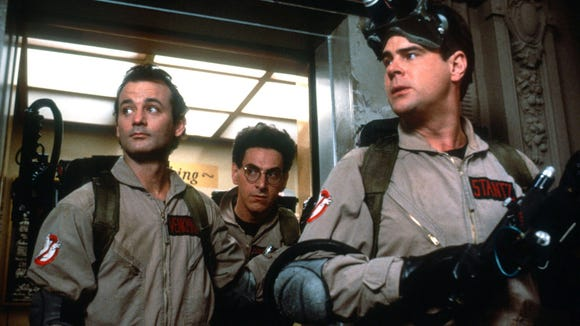 A scene from the 1984 film GHOSTBUSTERS. From left: Bill Murray, Harold Ramis and Dan Aykroyd.