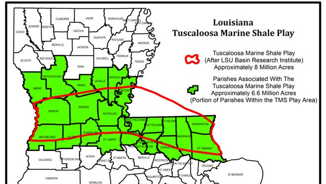 The Tuscaloosa Marine Shale formation is 8 million acres. It includes 28 parishes in central and south Louisiana, and several southwestern Mississippi counties.