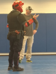With heavy protection from head to toe, this MATC police