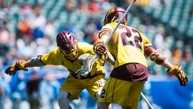 Salisbury University attack Nathan Blondino (22) celebrates a goal with midfielder James Burton (23) against Tufts University in the NCAA Divison 3 Finals on Sunday, May 29 at Lincoln Financial Field in Philadelphia, PA.