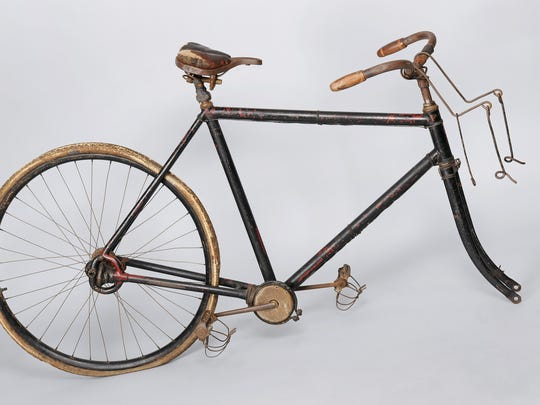 Reverend Edwin M. Ellis's bicycle, ca. 1899, traveled tens of thousands of miles. In the early 1890s, Ellis visited settlements all over the state—traveling nearly 8,000 miles in his first year. Railroads and stagecoaches couldn't deliver him to every remote congregation, so he used this chainless bicycle to reach them.