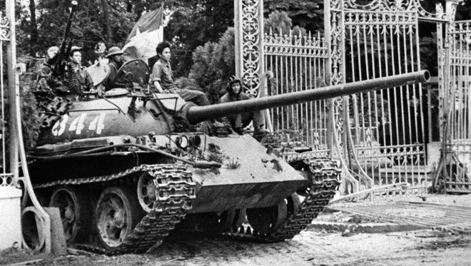 A North Vietnamese tank rolls through the gates of the Presidential Palace in Saigon on April 30, 1975, signifying the fall of South Vietnam. The war ended on April 30, 1975, with the fall of Saigon, now known as Ho Chi Minh City, to communist troops from the north.