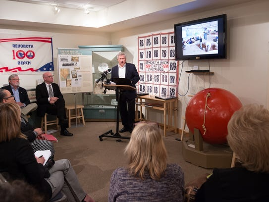 Doug Owsley, who leads the Division of Physical Anthropology at the Smithsonian National Museum of Natural History, gives his presentation on the 17th-century burial site near Rehoboth Beach, during a press conference at the Rehoboth Beach Museum.