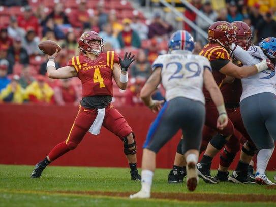 Iowa State freshman quarterback Zeb Noland fires a