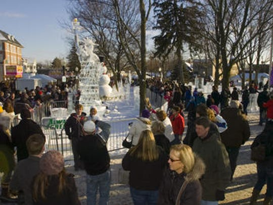The Plymouth Ice Festival typically draws thousands