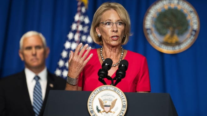 Education Secretary Betsy DeVos demanded that instruction be in-person at all schools this fall, echoing President Trump, Bayliss Fiddiman writes.