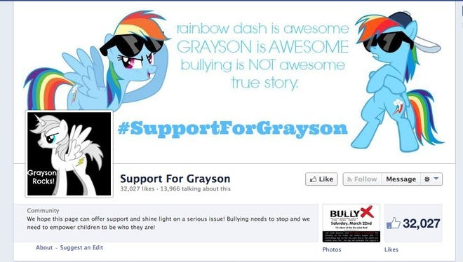 Noreen Bruce and two friends set up a Facebook page to support her son Grayson.