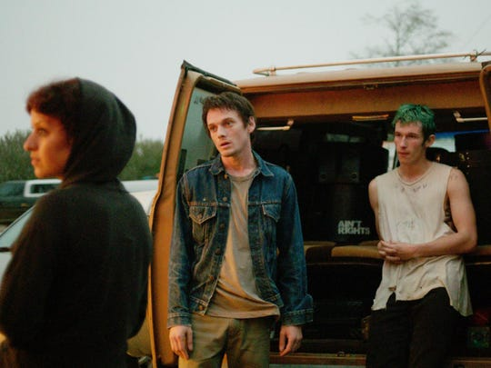 "That's Anton Yelchin in the middle as part of a band, desperate for gigs, that runs afoul of neo-Nazi skinheads and skinhead Patrick Stewart when they witness a murder in the ""Green Room."""