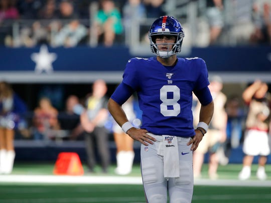 New York Giants quarterback Daniel Jones (8) stands by the line of scrimmage during a NFL football game against the Dallas Cowboys in Arlington, Texas, Sunday, Sept. 8, 2019. (AP Photo/Michael Ainsworth) ORG XMIT: OTKTG597