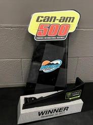 Matt Kenseth's Can-Am 500 winner's trophy sits in two