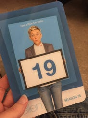 "A pass for ""The Ellen DeGenres Show"" recently attended"