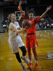 New Mexico State freshman Brooke Salas drives around