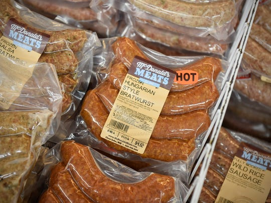 Many types of sausage line the cases Friday, March 24, at McDonald's Meats in Clear Lake.