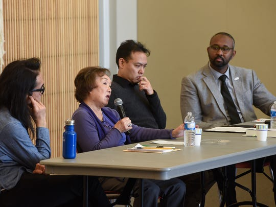 Sally Sudo shares her experiences as a child in an internment camp during a panel discussion Saturday, Nov. 18, at the St. Cloud Public Library.