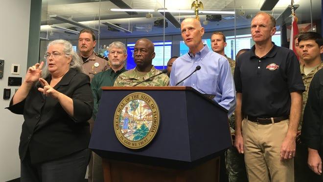Gov. Rick Scott delivered the latest updates on Hurricane Matthew on Oct. 6, 2016.