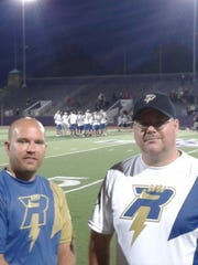 David Martin, left, and Chad Coopmans on the field during a Madison Radicals game in 2013. The 1997 Bay Port graduates made the decision to become co-owners of the team with Tim Debyl to bring the American Ultimate Disc League to Madison.
