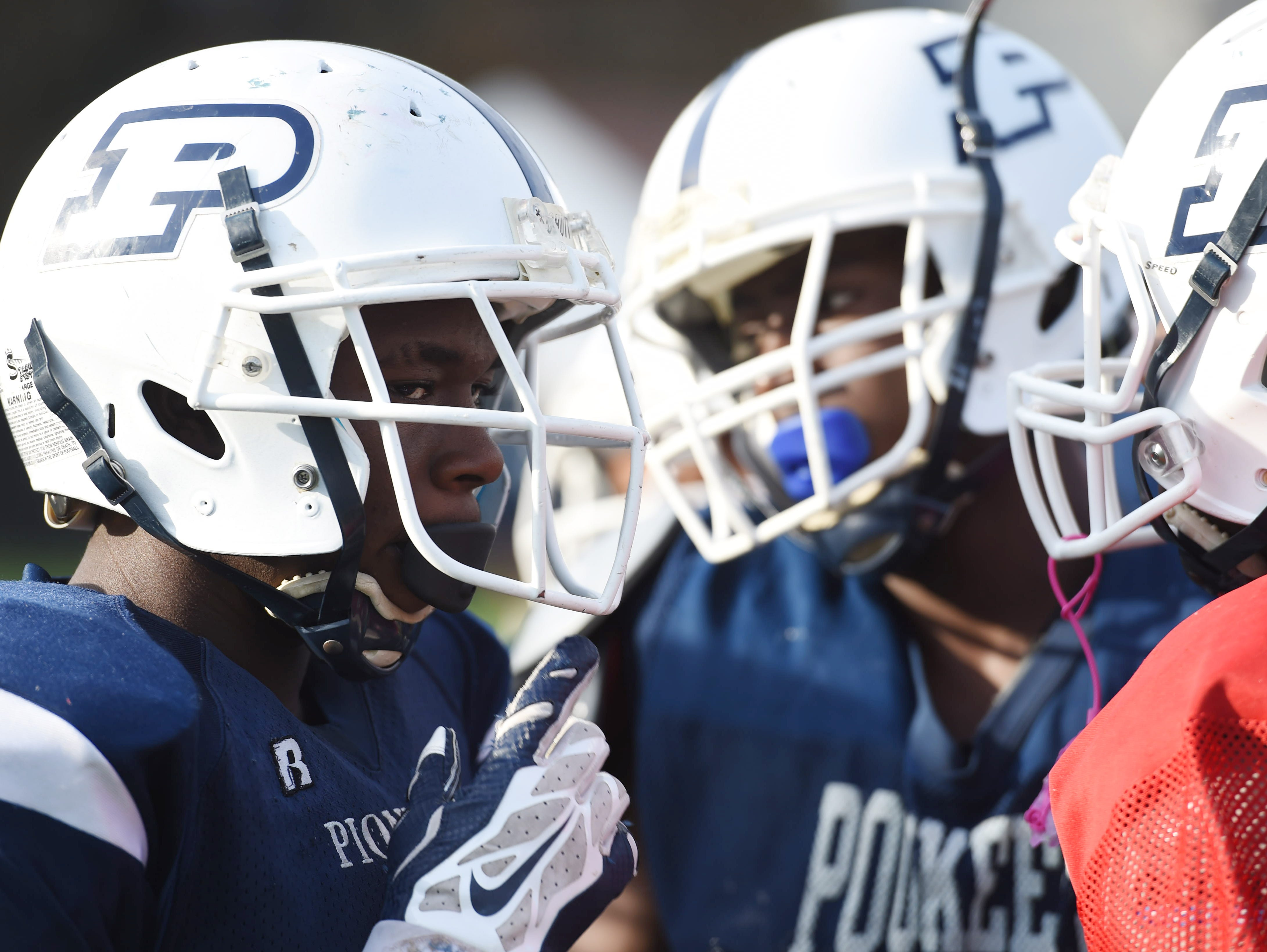 Poughkeepsie's Shaquez Nesbitt during practice at Poughkeepsie High School on Wednesday.