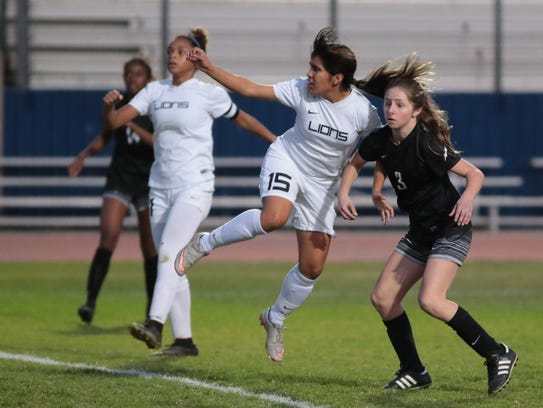 Narali Lopez scores Cathedral City's fourth goal with