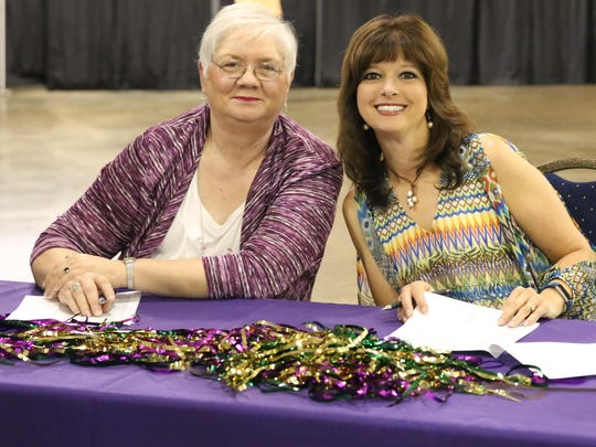 Terrie Adkins and Debbie Dunaway welcomed guests to the Southwest Tennessee Development District Annual Meeting and Awards Banquet on Thursday evening at the Jackson Fairgrounds.