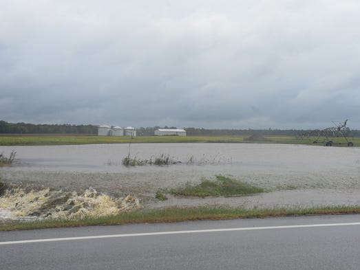 Fields along side Market Road in Snow Hill see flooding