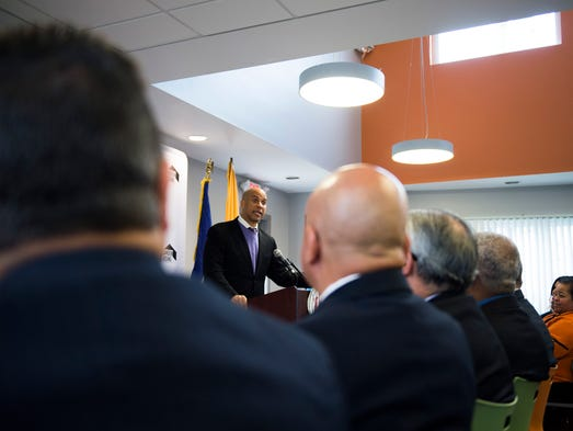 Senator Cory Booker speaks as a major federal investment