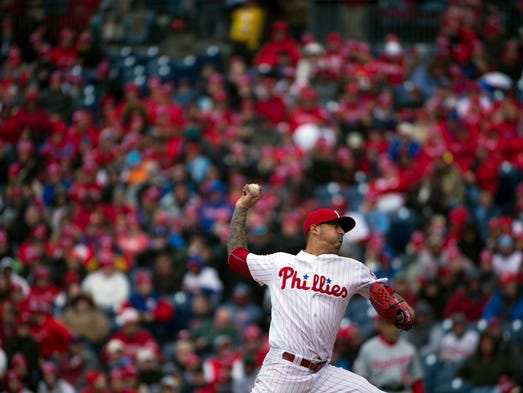 Phillies' Vince Velasquez pitches in a home opener