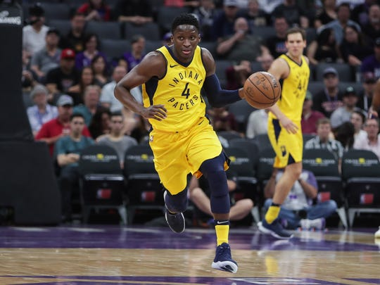Indiana Pacers guard Victor Oladipo (4) steals the