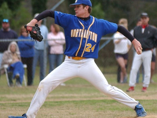 Northampton's Tyler Webb delivers a pitch in his win