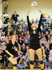 Setting the ball Thursday is PCA's Jessica Paulson