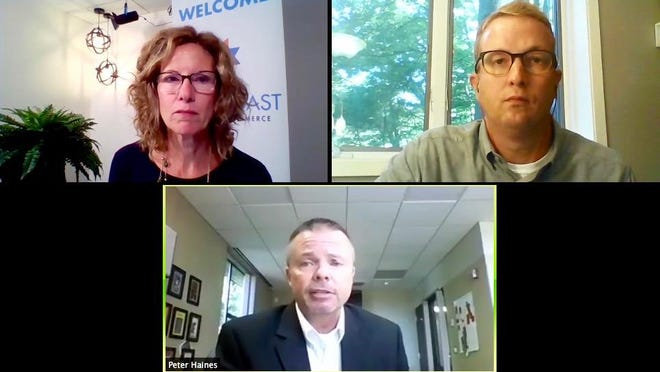 During a virtual meeting on Tuesday, Aug. 4, West Coast Chamber of Commerce president Jane Clark (top left) OAISD assistant superintendent of instruction Kyle Mayer (top right) and OAISD superintendent Peter Haines (bottom row) discussed returning to school this year.
