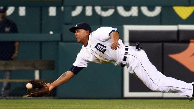 Tigers centerfielder Anthony Gose makes a catch during the seventh inning of Monday's loss at Comerica Park.