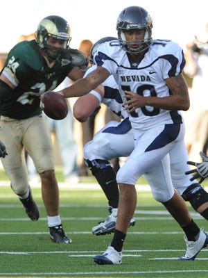 Former Nevada quarterback Colin Kaepernick, shown during a 2009 game at CSU, had 402 total yards of offense in a blowout win over the Rams in 2010.