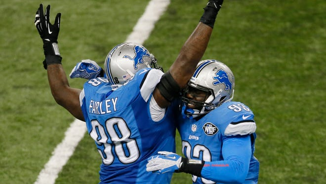Detroit Lions defensive tackle Nick Fairley celebrates a tackle against the New Orleans Saints. Fairley had two tackles and a quarterback hit.