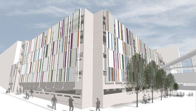A rendering of the downtown Nashville main library parking garage expansion