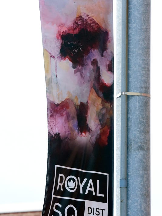"""""""Contrivance"""" by artist Andi Simpson was artwork used on a Royal Square street banner. Bill Kalina - bkalina@yorkdispatch.com"""