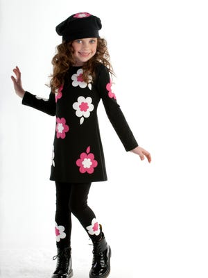 """""""From the Biscotti """"Bright Accent"""" collection. Dress is ponte knit with appliquéd daisy and leaf shapes on the front, back and arms. Coordinating legging has the same appliqué at the ankles."""" Dress $41, leggings $14. Available at Nordstrom,"""