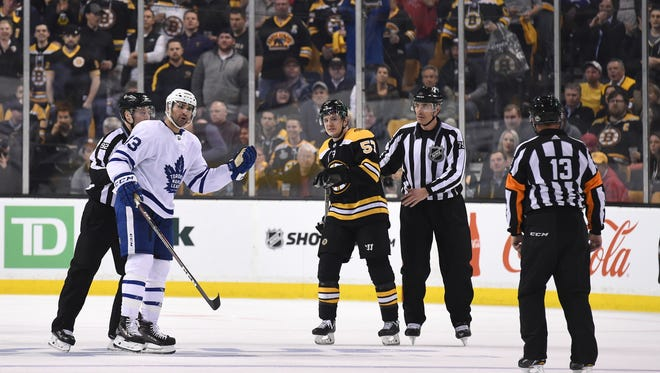 Toronto Maple Leafs center Nazem Kadri (43) questions a penalty called against him during the third period in Game 1.