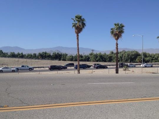 Traffic was backed up on Interstate 10 following last weekend's Coachella Valley Music and Arts Festival in Indio. Similar conditions are expected Monday.